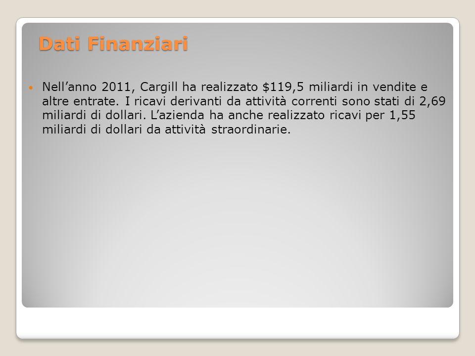 Dati Finanziari Nellanno 2011, Cargill ha realizzato $119,5 miliardi in vendite e altre entrate. I ricavi derivanti da attività correnti sono stati di