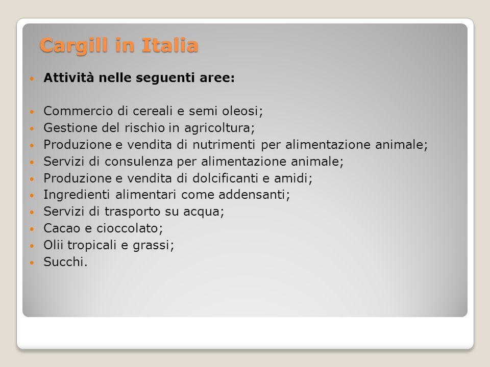 Cargill in Italia Attività nelle seguenti aree: Commercio di cereali e semi oleosi; Gestione del rischio in agricoltura; Produzione e vendita di nutri
