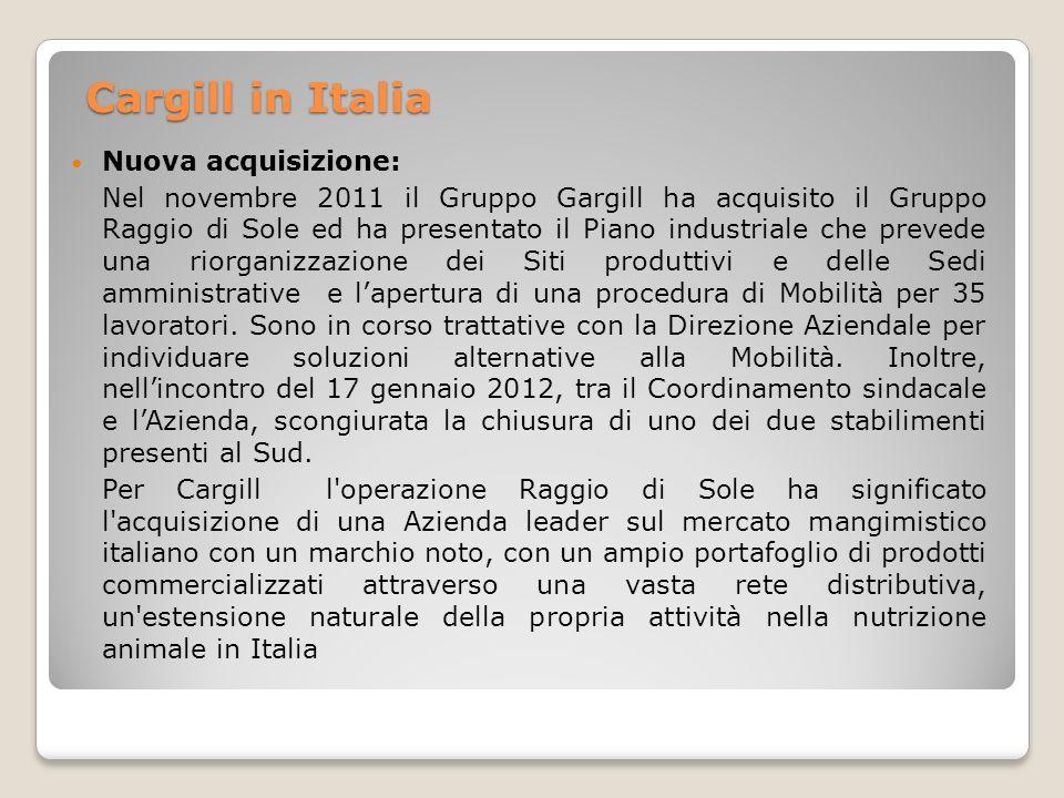 Cargill in Italia Nuova acquisizione: Nel novembre 2011 il Gruppo Gargill ha acquisito il Gruppo Raggio di Sole ed ha presentato il Piano industriale