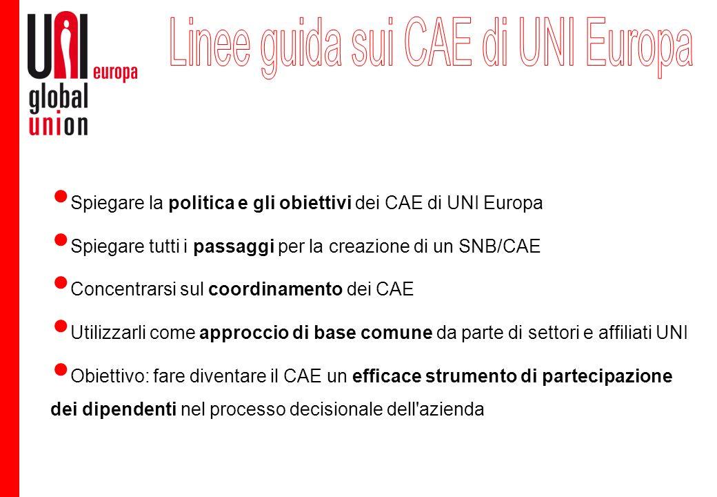 Spiegare la politica e gli obiettivi dei CAE di UNI Europa Spiegare tutti i passaggi per la creazione di un SNB/CAE Concentrarsi sul coordinamento dei