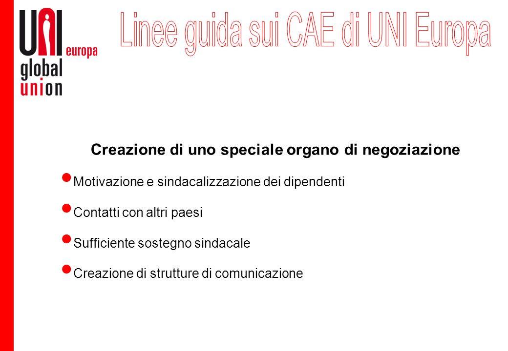 Creazione di uno speciale organo di negoziazione Motivazione e sindacalizzazione dei dipendenti Contatti con altri paesi Sufficiente sostegno sindacale Creazione di strutture di comunicazione