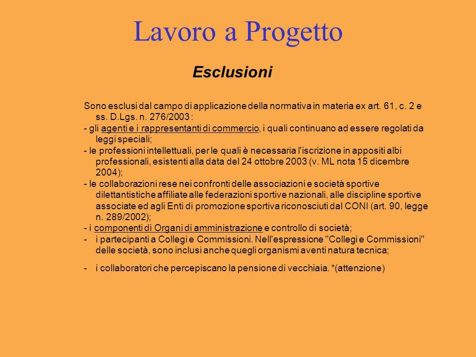 Lavoro a Progetto Esclusioni Sono esclusi dal campo di applicazione della normativa in materia ex art. 61, c. 2 e ss. D.Lgs. n. 276/2003 : - gli agent