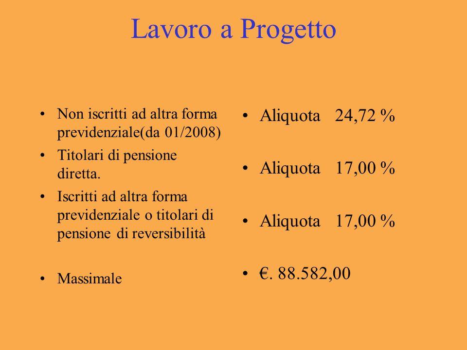 Lavoro a Progetto Non iscritti ad altra forma previdenziale(da 01/2008) Titolari di pensione diretta.