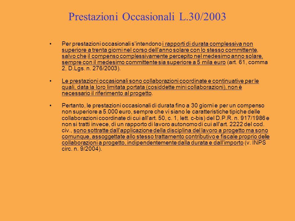Prestazioni Occasionali L.30/2003 Per prestazioni occasionali s'intendono i rapporti di durata complessiva non superiore a trenta giorni nel corso del