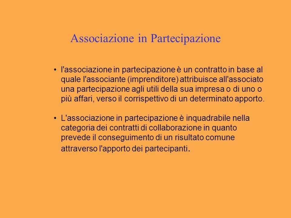 Associazione in Partecipazione l associazione in partecipazione è un contratto in base al quale l associante (imprenditore) attribuisce all associato una partecipazione agli utili della sua impresa o di uno o più affari, verso il corrispettivo di un determinato apporto.