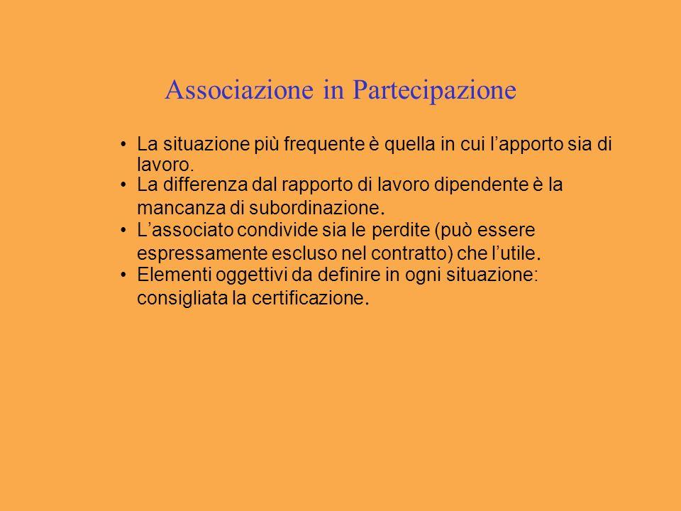 Associazione in Partecipazione La situazione più frequente è quella in cui lapporto sia di lavoro.