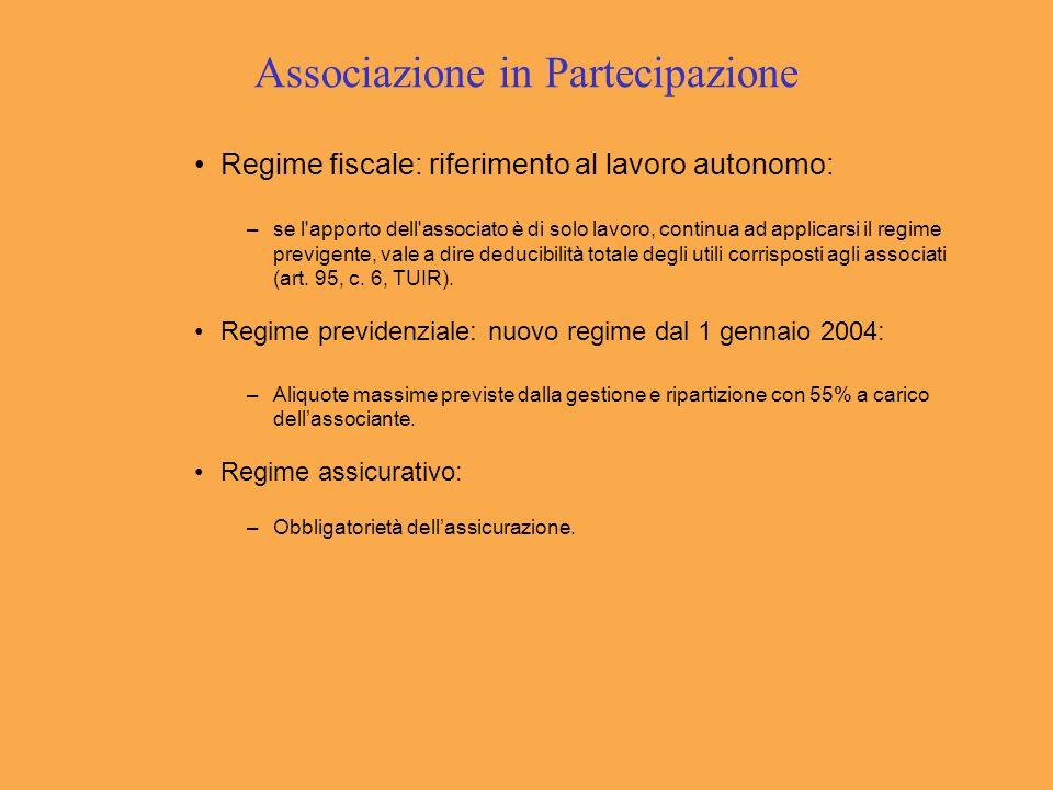 Associazione in Partecipazione Regime fiscale: riferimento al lavoro autonomo: –se l'apporto dell'associato è di solo lavoro, continua ad applicarsi i