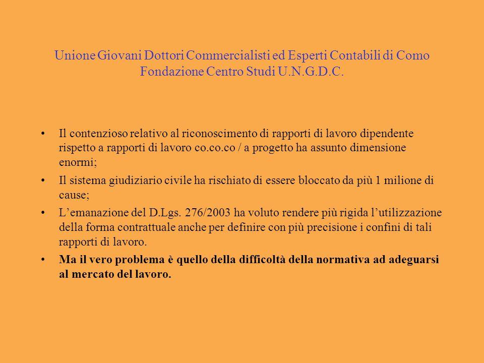 Unione Giovani Dottori Commercialisti ed Esperti Contabili di Como Fondazione Centro Studi U.N.G.D.C. Il contenzioso relativo al riconoscimento di rap