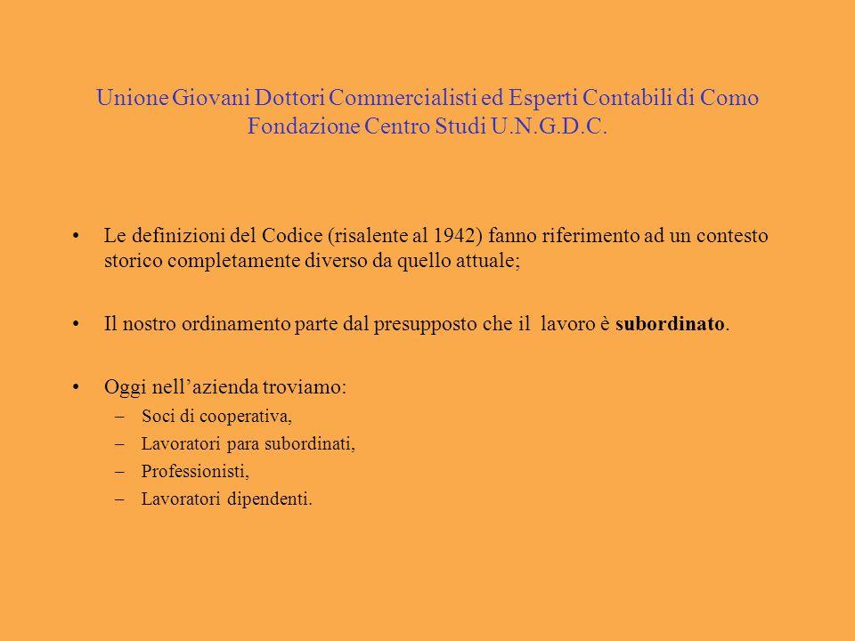 Unione Giovani Dottori Commercialisti ed Esperti Contabili di Como Fondazione Centro Studi U.N.G.D.C. Le definizioni del Codice (risalente al 1942) fa