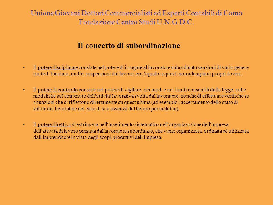 Unione Giovani Dottori Commercialisti ed Esperti Contabili di Como Fondazione Centro Studi U.N.G.D.C. Il concetto di subordinazione Il potere discipli