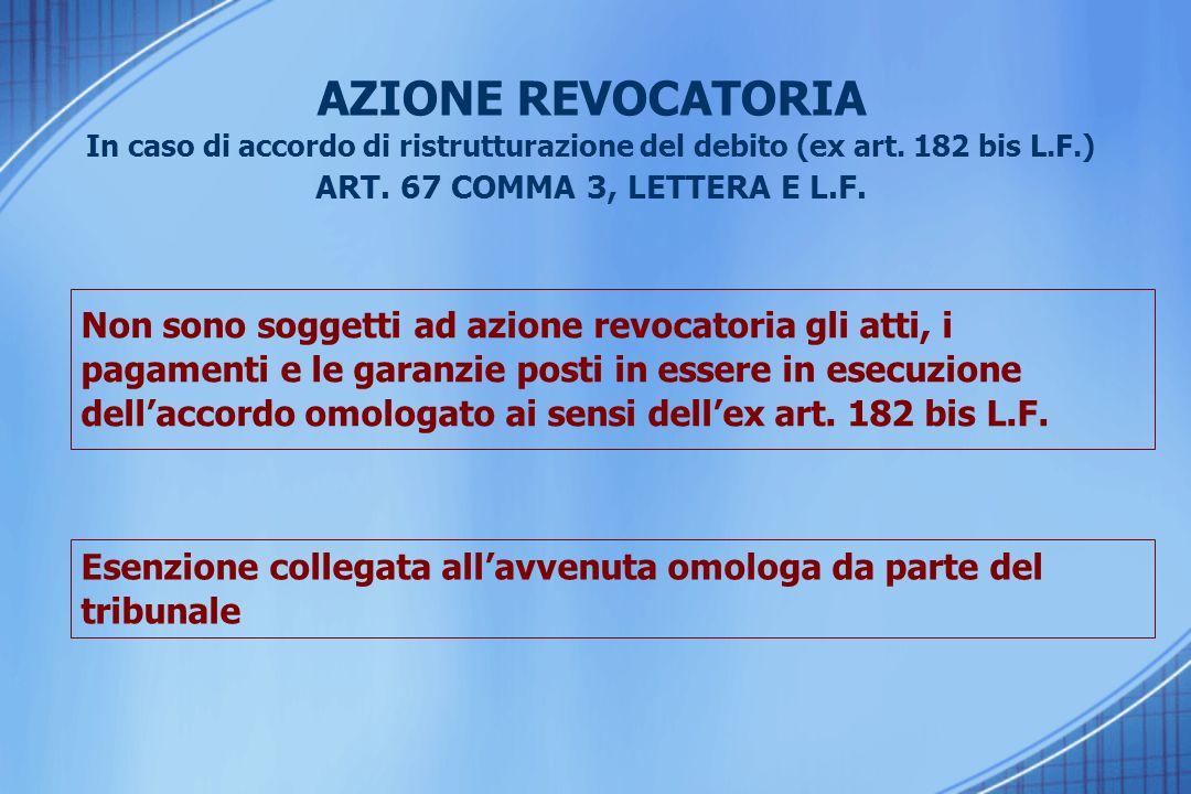 AZIONE REVOCATORIA In caso di accordo di ristrutturazione del debito (ex art.