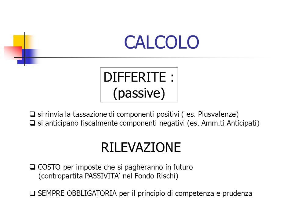 CALCOLO DIFFERITE : (passive) si rinvia la tassazione di componenti positivi ( es. Plusvalenze) si anticipano fiscalmente componenti negativi (es. Amm