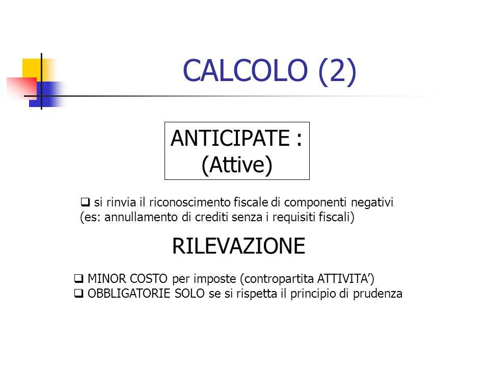 CALCOLO (2) ANTICIPATE : (Attive) si rinvia il riconoscimento fiscale di componenti negativi (es: annullamento di crediti senza i requisiti fiscali) R