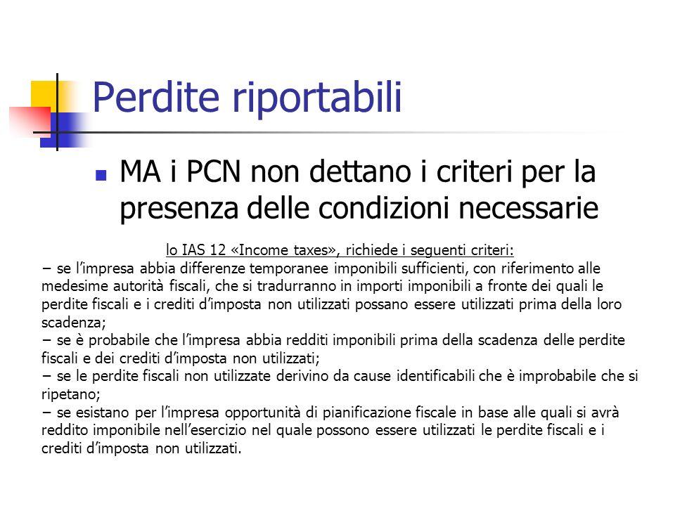 MA i PCN non dettano i criteri per la presenza delle condizioni necessarie lo IAS 12 «Income taxes», richiede i seguenti criteri: se limpresa abbia di