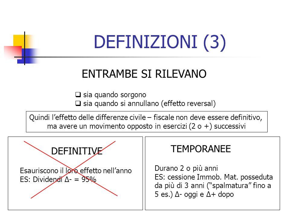 DEFINIZIONI (3) ENTRAMBE SI RILEVANO sia quando sorgono sia quando si annullano (effetto reversal) Quindi leffetto delle differenze civile – fiscale n