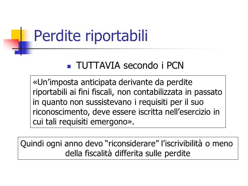 TUTTAVIA secondo i PCN «Unimposta anticipata derivante da perdite riportabili ai fini fiscali, non contabilizzata in passato in quanto non sussistevan