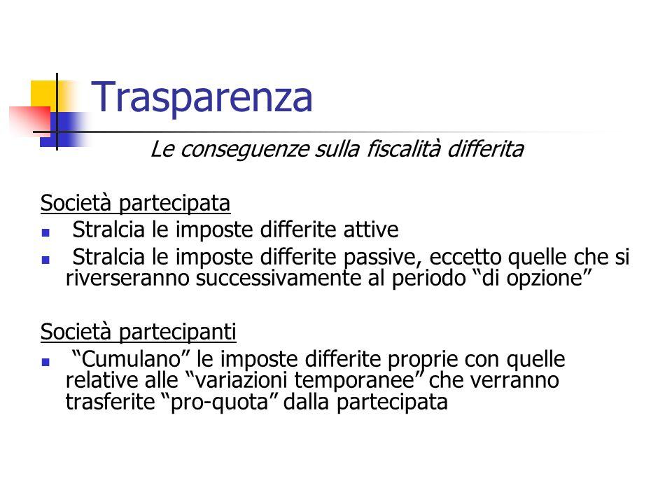 Le conseguenze sulla fiscalità differita Società partecipata Stralcia le imposte differite attive Stralcia le imposte differite passive, eccetto quell