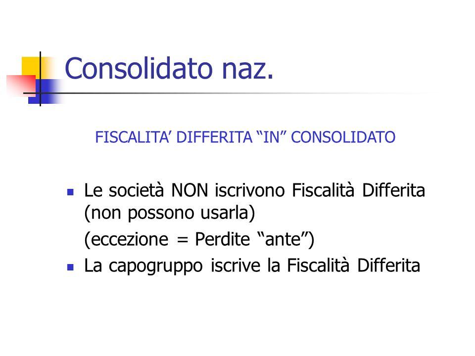 Consolidato naz. Le società NON iscrivono Fiscalità Differita (non possono usarla) (eccezione = Perdite ante) La capogruppo iscrive la Fiscalità Diffe