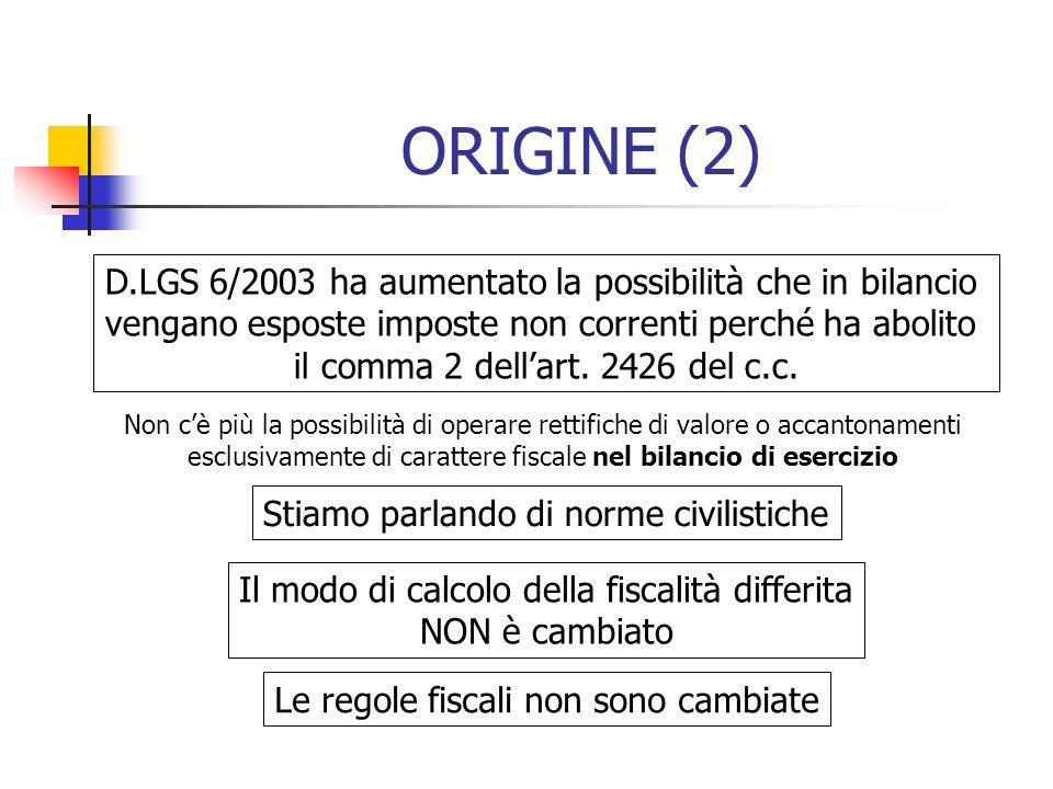 ORIGINE (2) D.LGS 6/2003 ha aumentato la possibilità che in bilancio vengano esposte imposte non correnti perché ha abolito il comma 2 dellart. 2426 d
