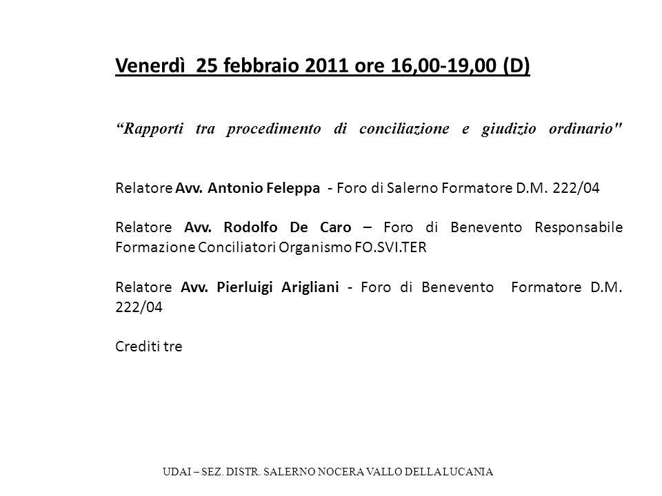 Venerdì 25 febbraio 2011 ore 16,00-19,00 (D) Rapporti tra procedimento di conciliazione e giudizio ordinario Relatore Avv.