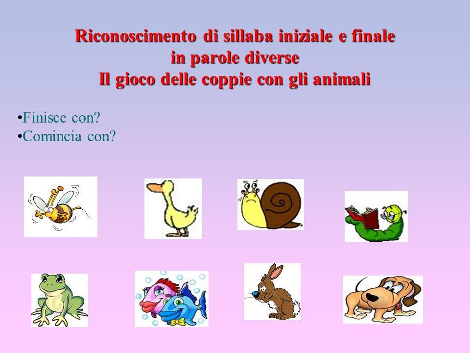 Riconoscimento di sillaba iniziale e finale in parole diverse Il gioco delle coppie con gli animali Finisce con? Comincia con?