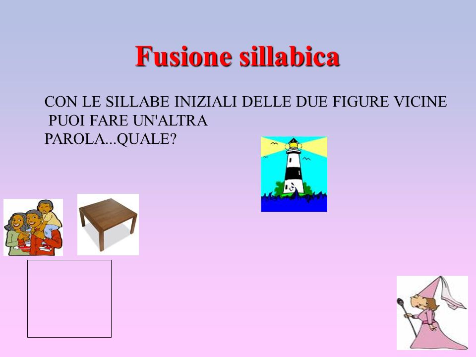 Fusione sillabica CON LE SILLABE INIZIALI DELLE DUE FIGURE VICINE PUOI FARE UN'ALTRA PAROLA...QUALE?