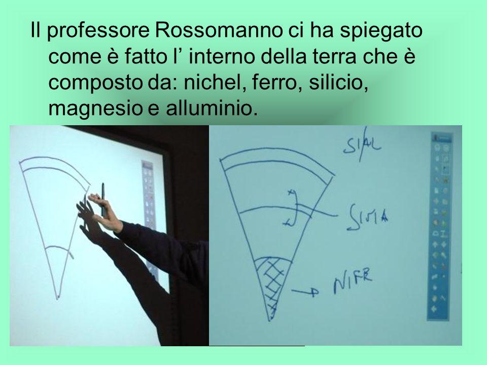 Il professore Rossomanno ci ha spiegato come è fatto l interno della terra che è composto da: nichel, ferro, silicio, magnesio e alluminio.