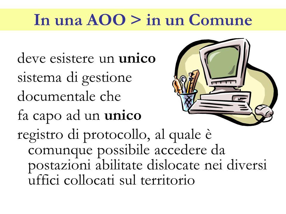 In una AOO > in un Comune deve esistere un unico sistema di gestione documentale che fa capo ad un unico registro di protocollo, al quale è comunque p