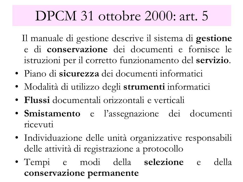 DPCM 31 ottobre 2000: art. 5 Il manuale di gestione descrive il sistema di gestione e di conservazione dei documenti e fornisce le istruzioni per il c