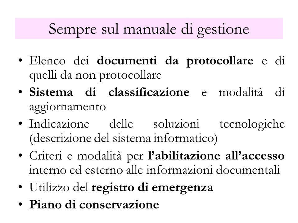 Sempre sul manuale di gestione Elenco dei documenti da protocollare e di quelli da non protocollare Sistema di classificazione e modalità di aggiornam