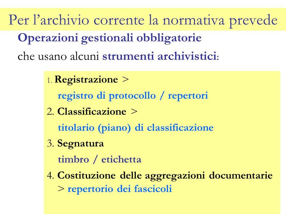 Per larchivio corrente la normativa prevede Operazioni gestionali obbligatorie che usano alcuni strumenti archivistici : 1. Registrazione > registro d