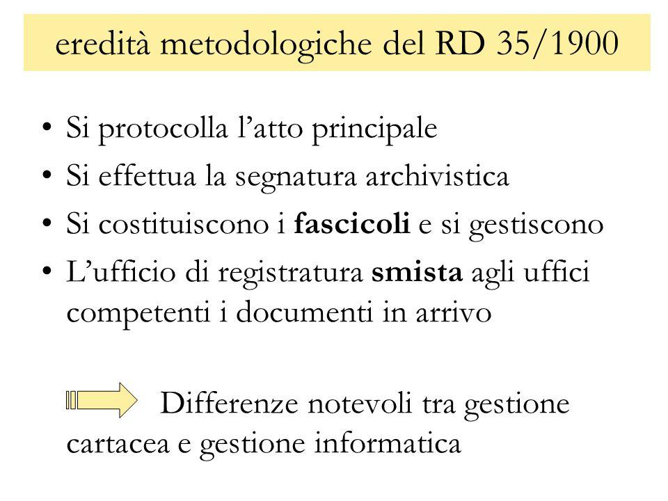 eredità metodologiche del RD 35/1900 Si protocolla latto principale Si effettua la segnatura archivistica Si costituiscono i fascicoli e si gestiscono