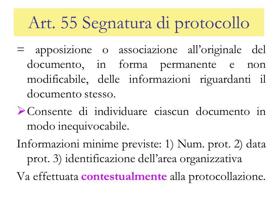 Art. 55 Segnatura di protocollo = apposizione o associazione alloriginale del documento, in forma permanente e non modificabile, delle informazioni ri