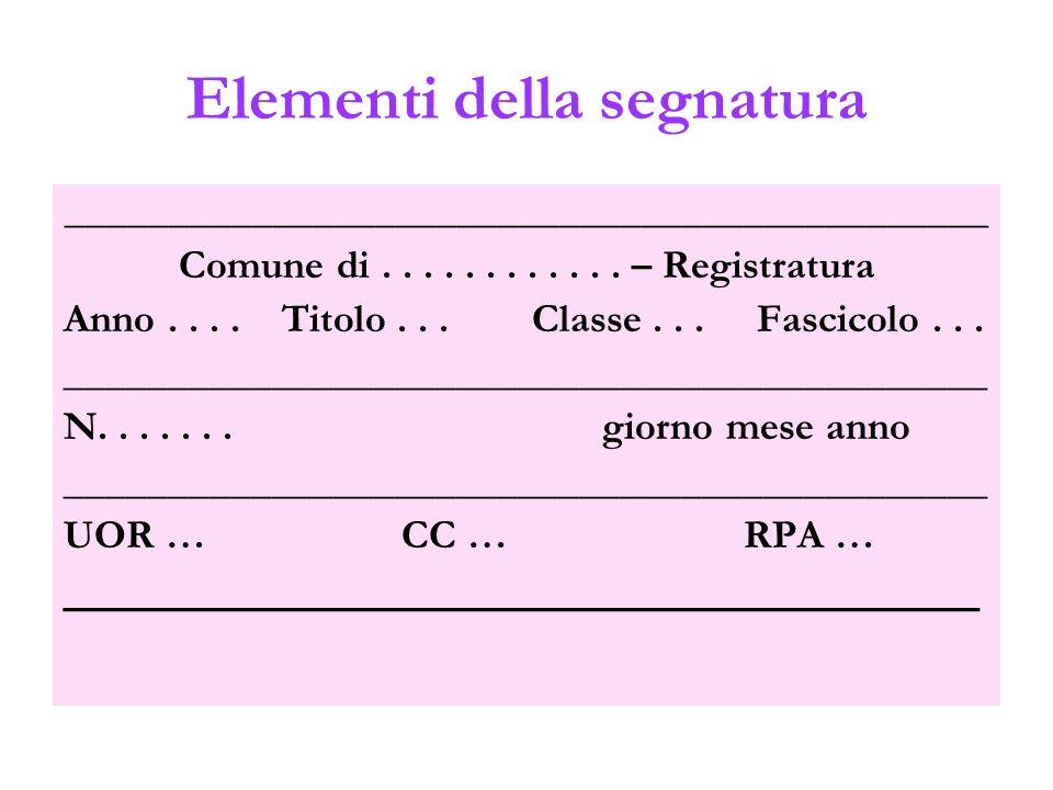 Elementi della segnatura _____________________________________________ Comune di............ – Registratura Anno.... Titolo... Classe... Fascicolo...
