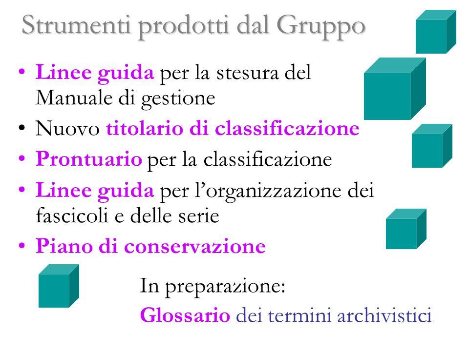 Strumenti prodotti dal Gruppo Linee guida per la stesura del Manuale di gestione Nuovo titolario di classificazione Prontuario per la classificazione