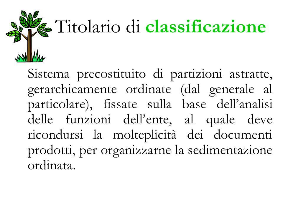 Titolario di classificazione Sistema precostituito di partizioni astratte, gerarchicamente ordinate (dal generale al particolare), fissate sulla base