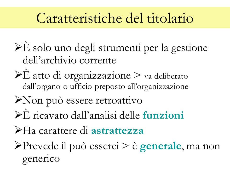 Caratteristiche del titolario È solo uno degli strumenti per la gestione dellarchivio corrente È atto di organizzazione > va deliberato dallorgano o u