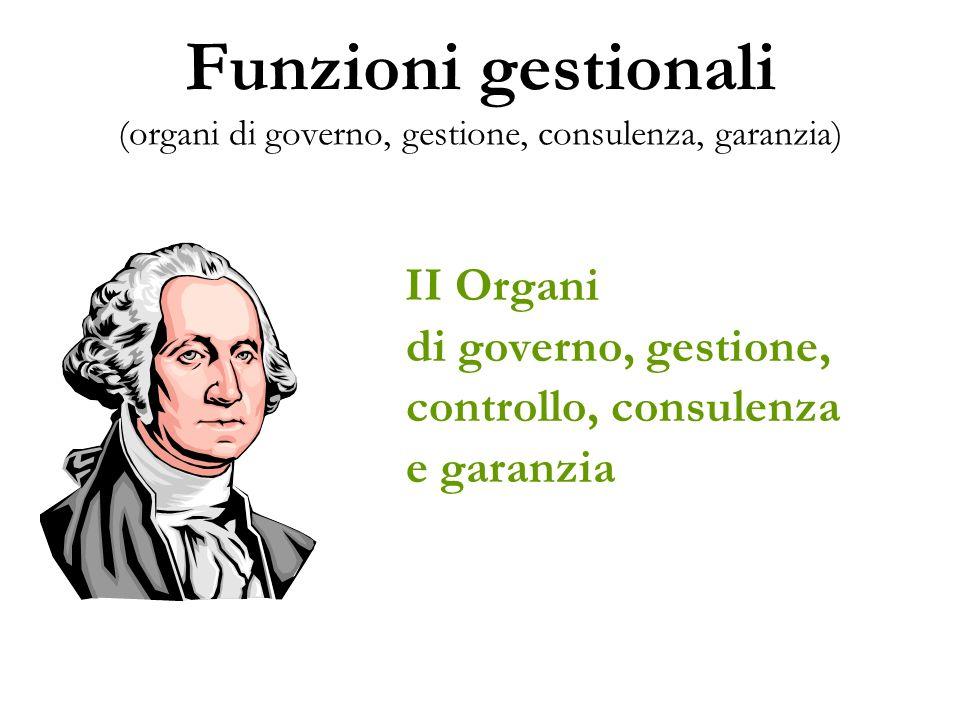 Funzioni gestionali (organi di governo, gestione, consulenza, garanzia) II Organi di governo, gestione, controllo, consulenza e garanzia
