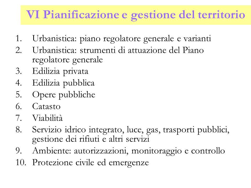 VI Pianificazione e gestione del territorio 1.Urbanistica: piano regolatore generale e varianti 2.Urbanistica: strumenti di attuazione del Piano regol