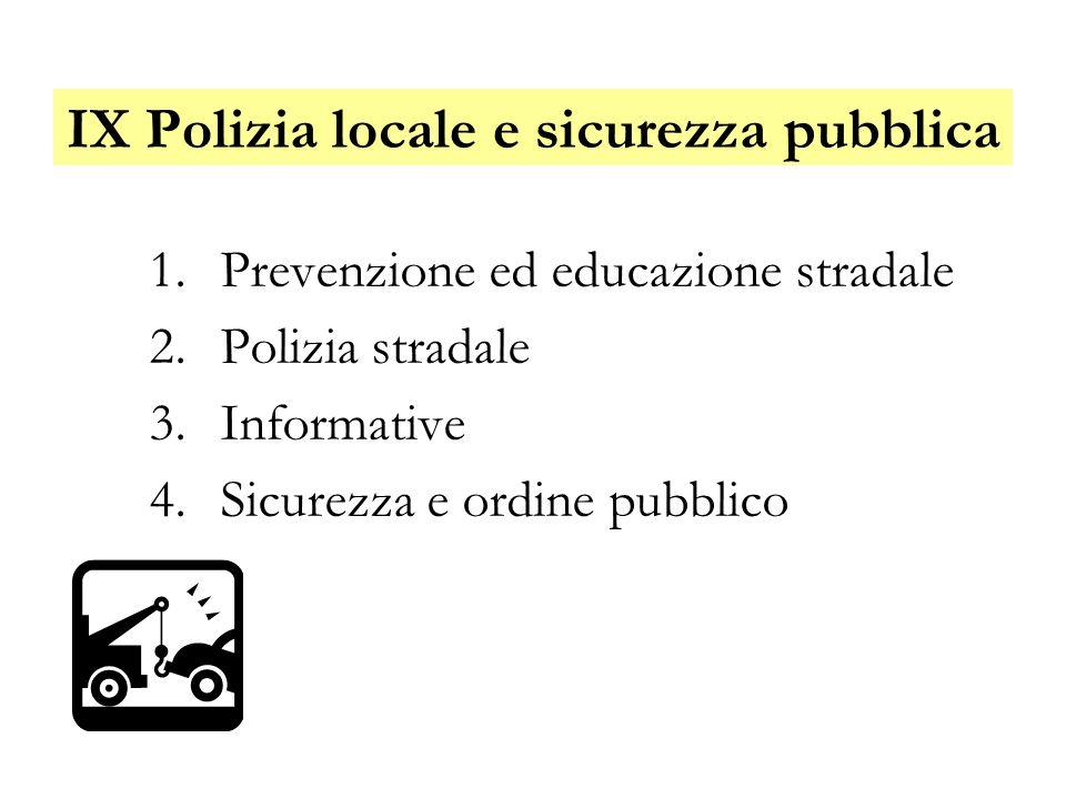 IX Polizia locale e sicurezza pubblica 1.Prevenzione ed educazione stradale 2.Polizia stradale 3.Informative 4.Sicurezza e ordine pubblico