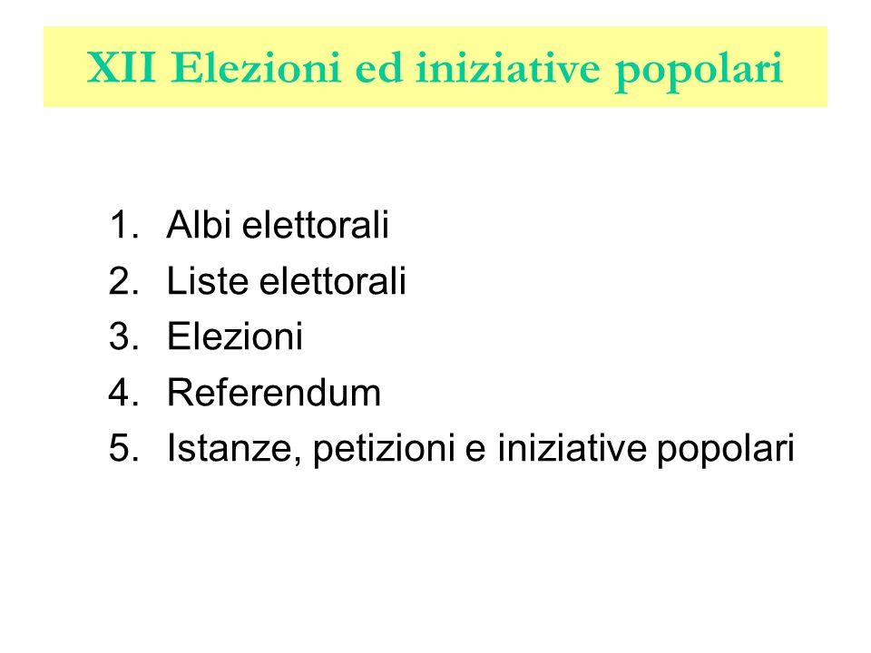 XII Elezioni ed iniziative popolari 1.Albi elettorali 2.Liste elettorali 3.Elezioni 4.Referendum 5.Istanze, petizioni e iniziative popolari