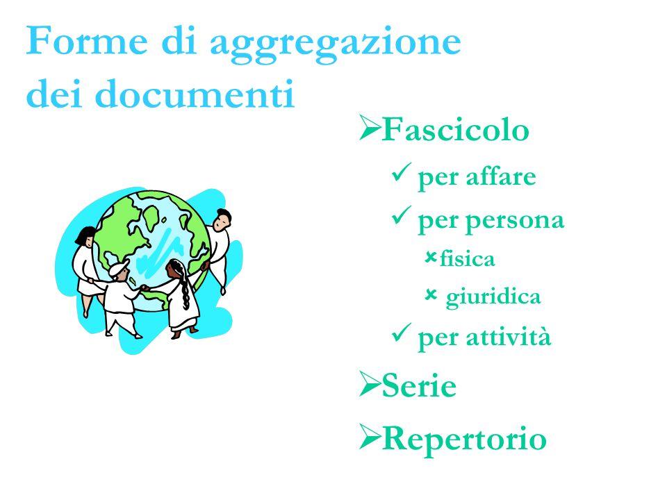 Forme di aggregazione dei documenti Fascicolo per affare per persona fisica giuridica per attività Serie Repertorio