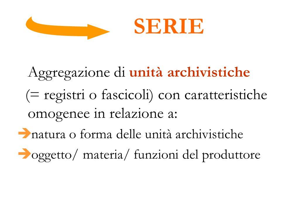 SERIE Aggregazione di unità archivistiche (= registri o fascicoli) con caratteristiche omogenee in relazione a: natura o forma delle unità archivistic