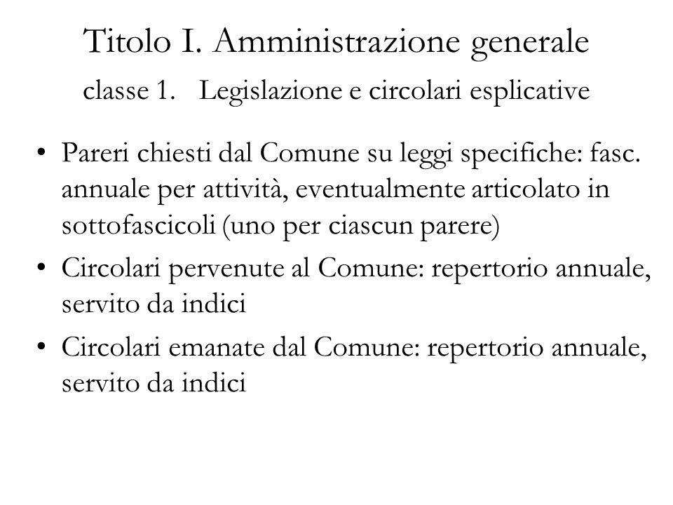 Titolo I. Amministrazione generale classe 1. Legislazione e circolari esplicative Pareri chiesti dal Comune su leggi specifiche: fasc. annuale per att