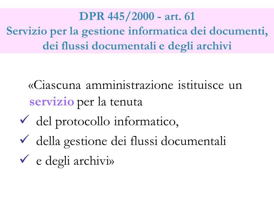 DPR 445/2000 - art. 61 Servizio per la gestione informatica dei documenti, dei flussi documentali e degli archivi «Ciascuna amministrazione istituisce