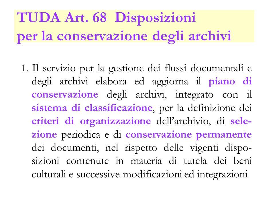 TUDA Art. 68 Disposizioni per la conservazione degli archivi 1. Il servizio per la gestione dei flussi documentali e degli archivi elabora ed aggiorna