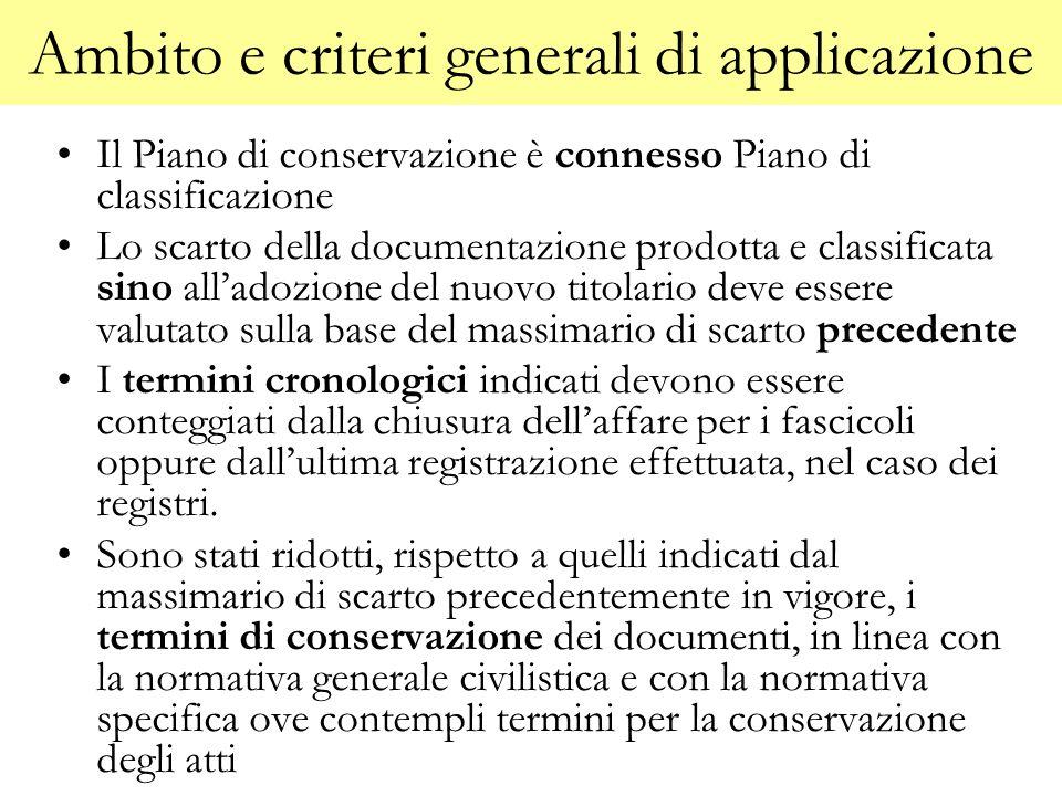 Ambito e criteri generali di applicazione Il Piano di conservazione è connesso Piano di classificazione Lo scarto della documentazione prodotta e clas