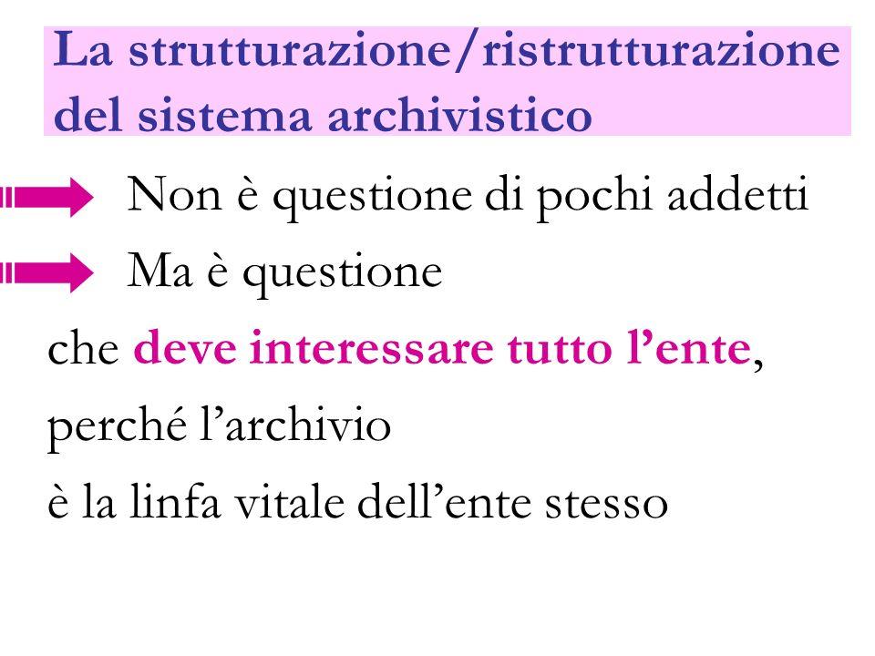 La strutturazione/ristrutturazione del sistema archivistico Non è questione di pochi addetti Ma è questione che deve interessare tutto lente, perché l