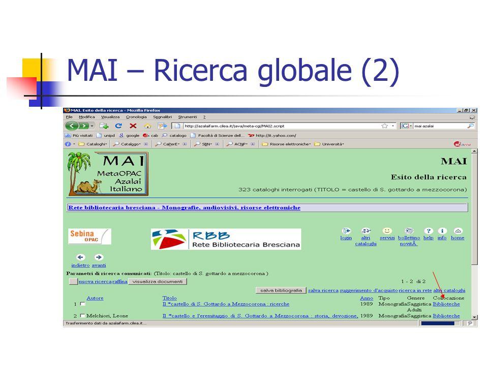 MAI – Ricerca globale (2)