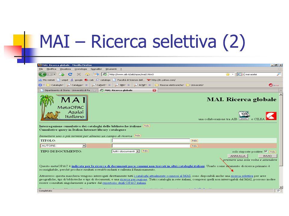 MAI – Ricerca selettiva (2)